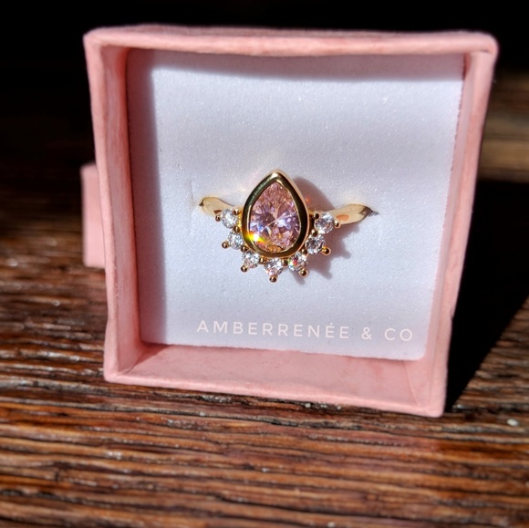AmberRenée & Co Jewelry - 14k Pink Champagne Pear Teardrop, Sunburst Ring
